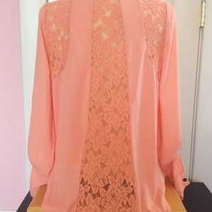 Peach button front top with lace inset in back